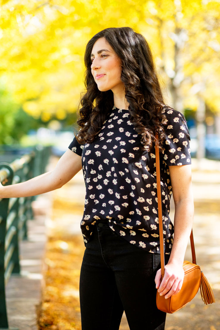 Madewell Silk Button Back Tee in Seattle Floral | www.cupcakesandthecosmos.com