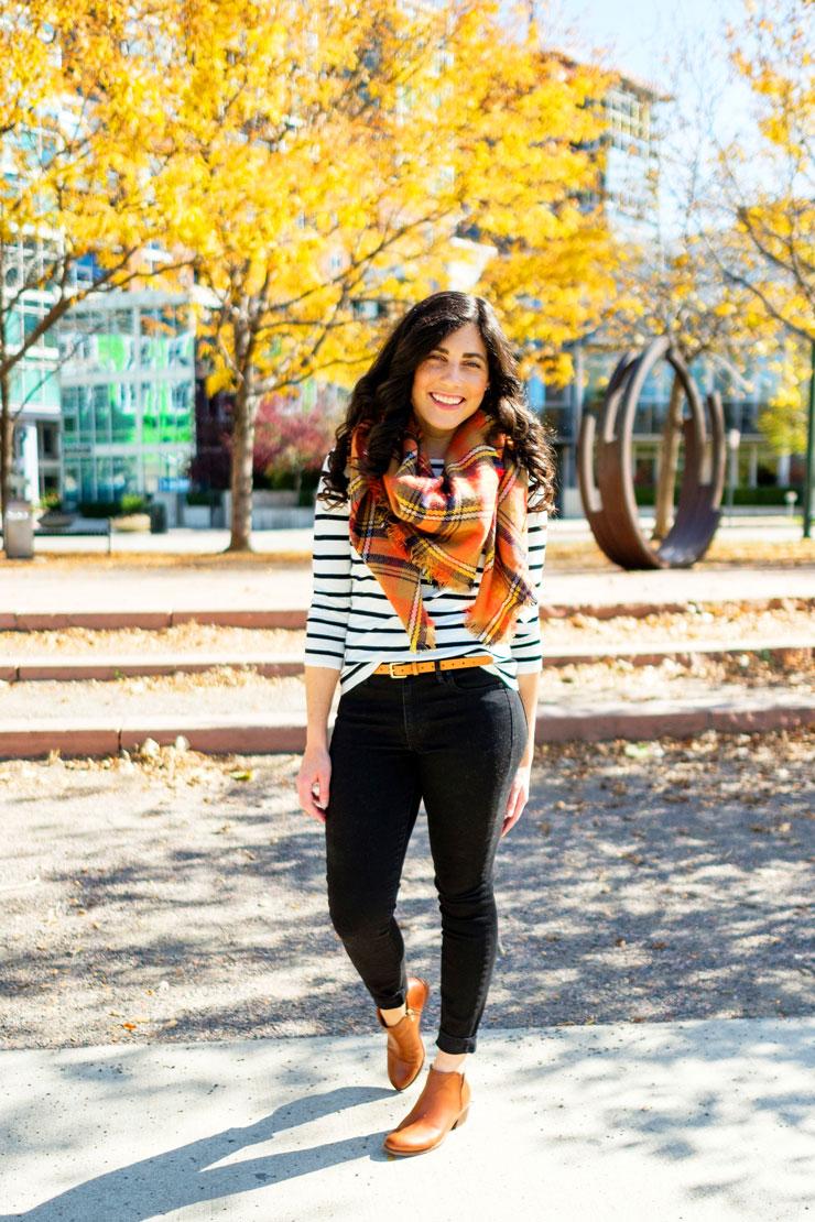 Orange Plaid Scarf for Fall   www.cupcakesandthecosmos.com