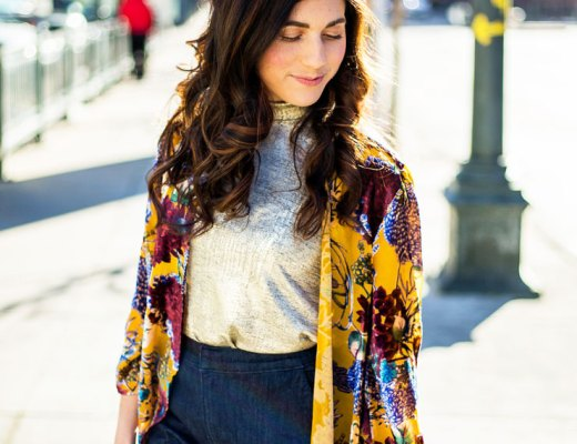 Yellow Velvet Floral Kimono from Anthropologie | www.cupcakesandthecosmos.com