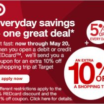 Target Deal: 10 Percent Off Coupon for New REDCard Members! (Expires 5-20-17)