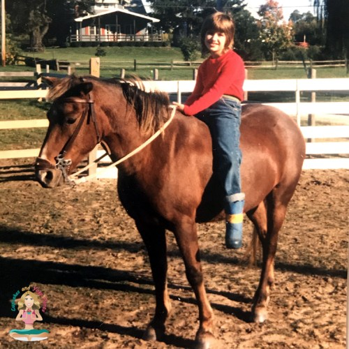 Angela on her horse, Prince.