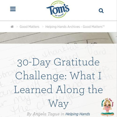 30 day gratitude challenge article screenshot