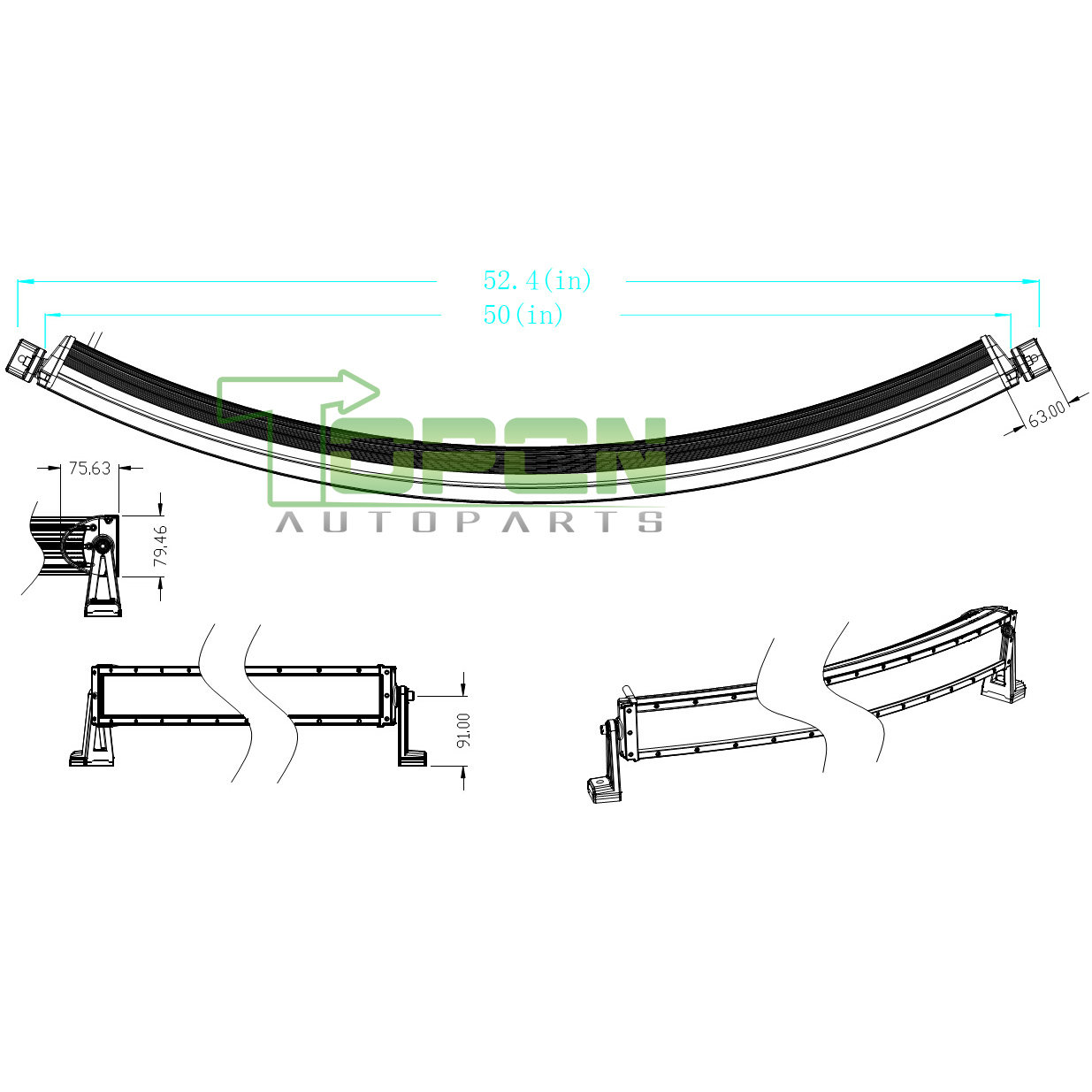 288w 50inch Curved Led Light Bar Spot Flood Combo Work Driving Atv Suv Offroad
