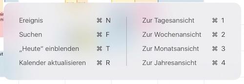 Tastenkürzel Kalender iOS 9