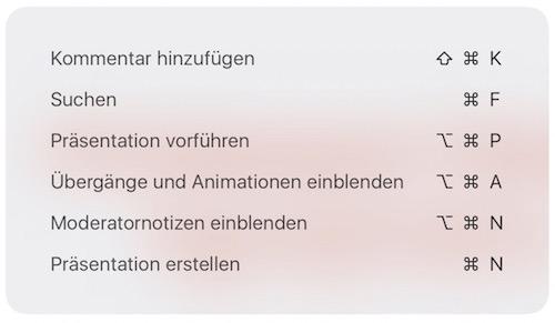 Tastaturkürzel Keynote iOS 9