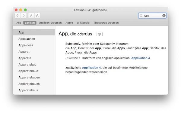 Lexikon.app in OS X