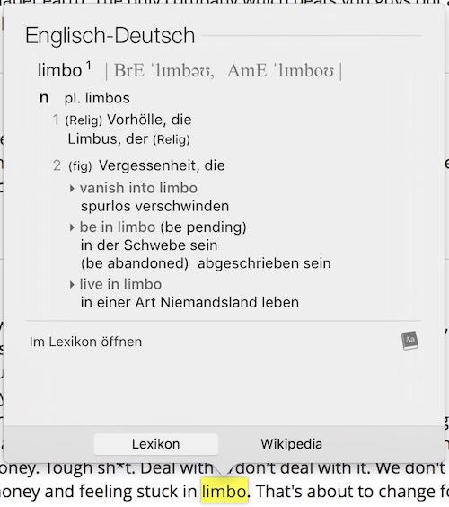Eintrag in Lexikon (OS X)