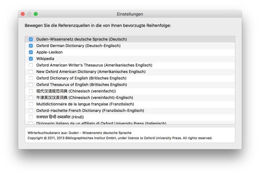 Einstellungen Lexikon OS X