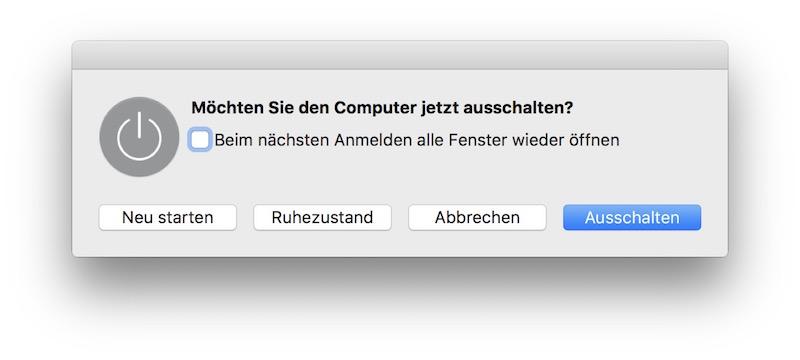 OS X: Ausschaltfenster