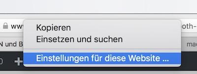Einstellungen Safari für Webseite