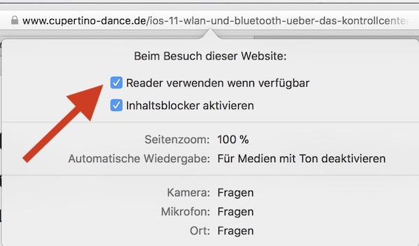 Webseitenspezifische Einstellungen in Safari