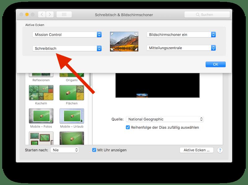 Aktive Ecken - Systemeinstellungen macOS