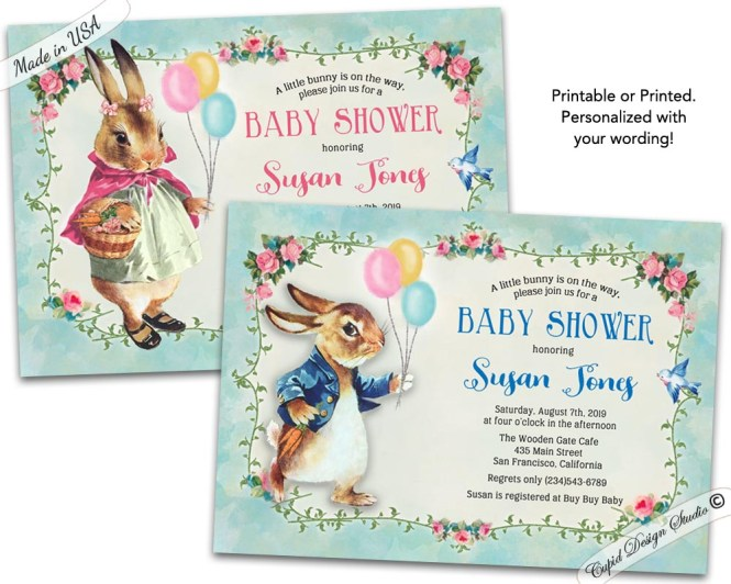 Peter Rabbit Baby Shower Invitations Beatrix Potter Invites Personalized Printable Or Printed 5x7