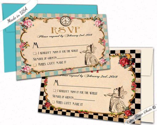 Alice In Wonderland Wedding Rsvp Card Queen Of Hearts Invites Matching