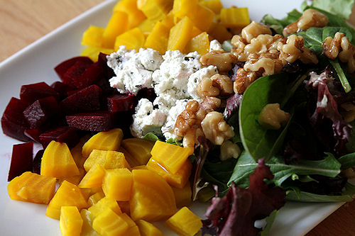 Red and Golden Beet Salad with Herb Chevre and Honey