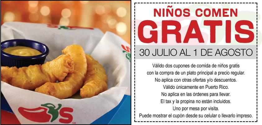 Los niños comen GRATIS en Chilli\'s - Cuponeando PR