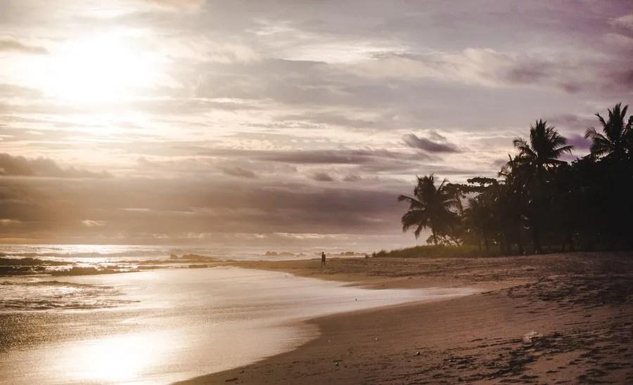 santa teresa beach at sunset, costa rica itinerary