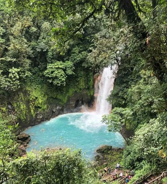 rio celeste waterfall - famous landmarks in costa rica