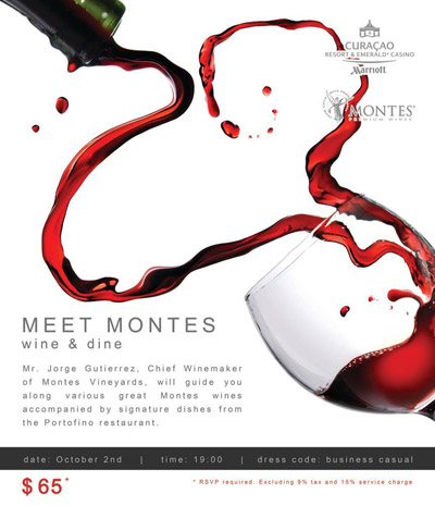 Montes wines at Marriott Curaçao