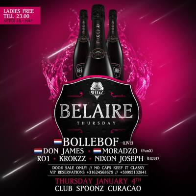 Belaire Invites Bollebof at Club Spoonz Curacao