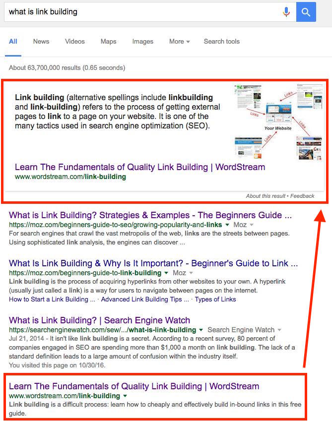 featured snippet link building