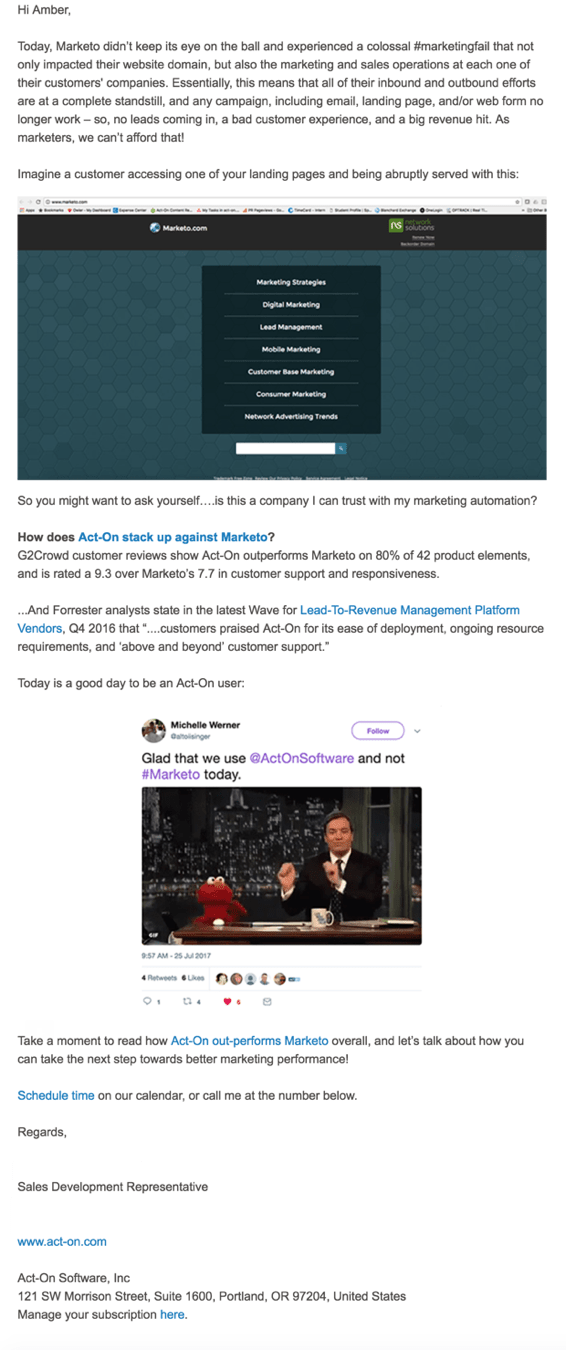 Act-on's not so classy marketo email