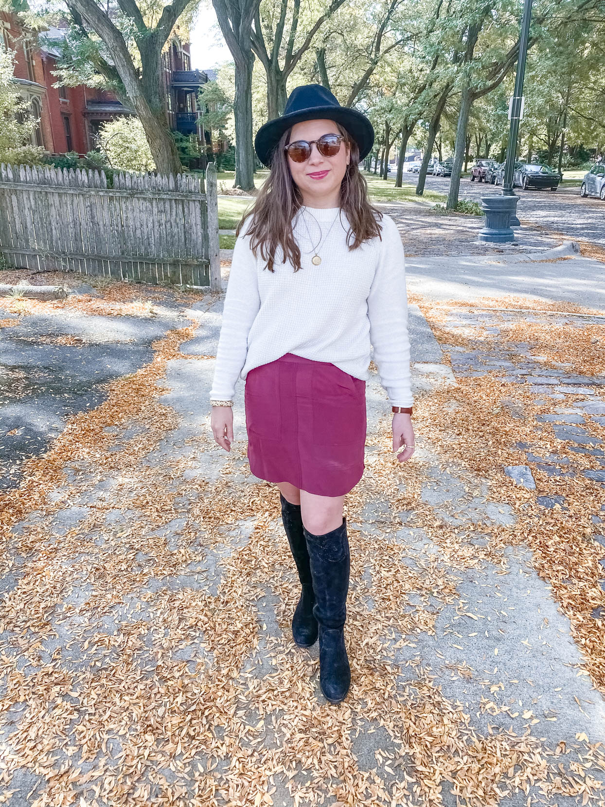 Cream Sweater and Burgundy Skirt