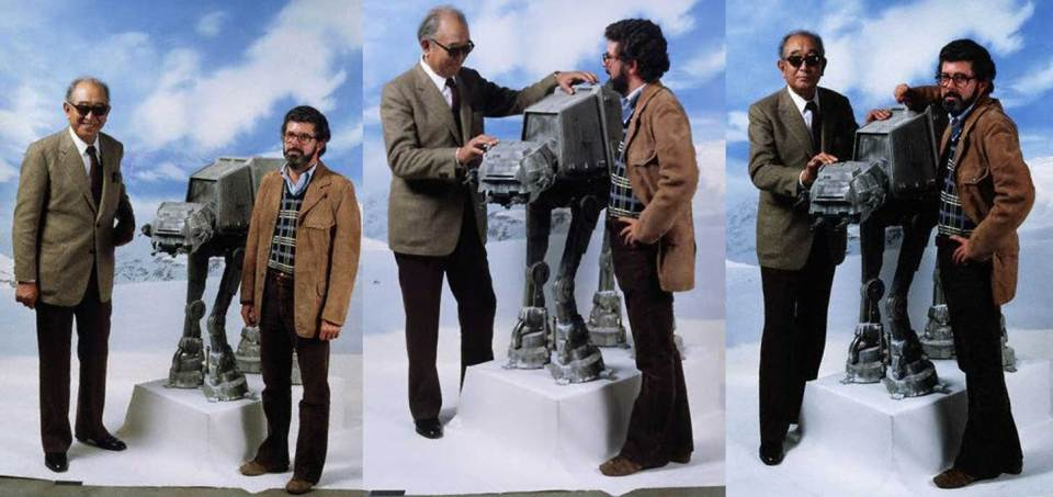 Akira-Kurosawa-and-George-Lucas-posing-with-a-Walker-on-the-set-of-The-Empire-Strikes-Back