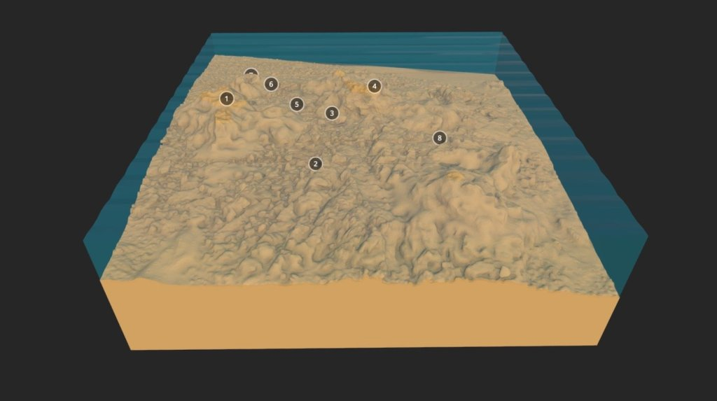 Graphical cross section of a seabed with a bumpy sandy coloured surface. Numbers highlight different points in the trail. The low poly seabed model and artefact scatter of the site of the Association, which sank in 1707. The numbered annotations are used to create a tour of the seabed, containing web links to further information about the finds.