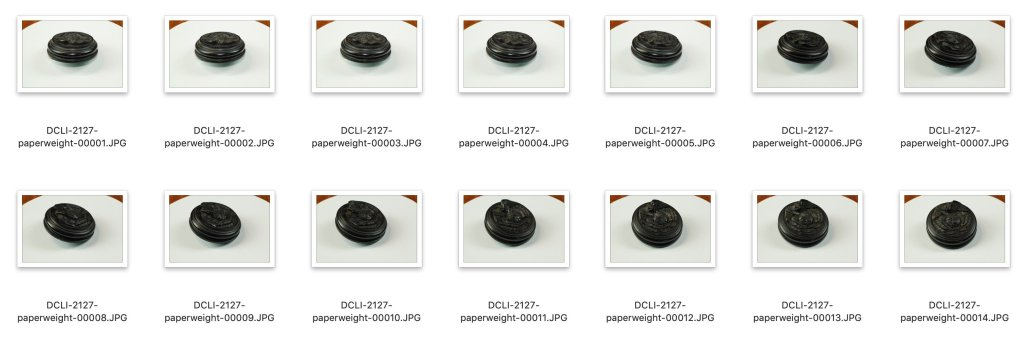 Two rows of seven similar images of a paperweight. DCLI refers to the name of the museum (Duke of Cornwall's Light Infantry Museum, now Cornwall's Regimental Museum), followed by the object's ID number at the institution, followed by a simple name, followed by a sequential number.