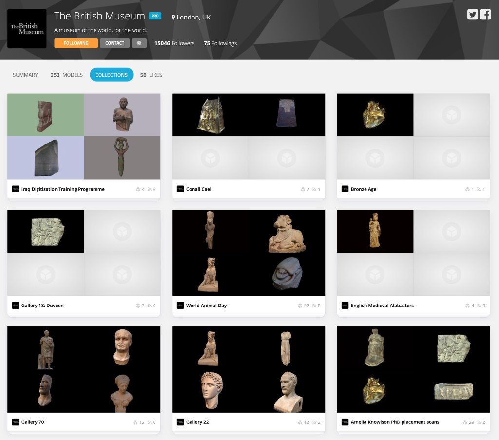 Screenshot of the British Museum's use of Sketchfab's collections feature