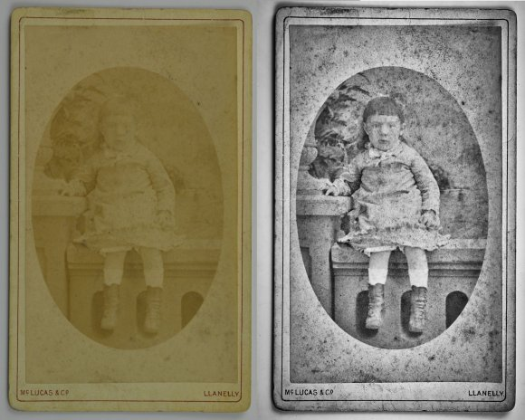 A before and after image restoration comparison. A badly faded 19th century photograph of a girl is on the left. On the right is a digitally restored version, which is much clearer.