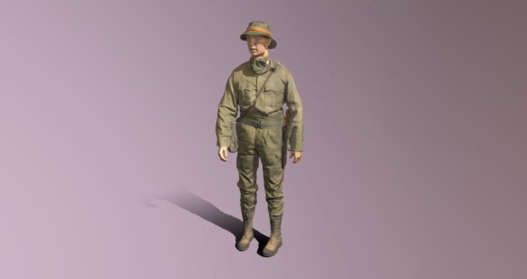 Our 3D scanning services have been used to help museums provide Augmented Reality (AR) experiences. Here, a mannequin wearing a green military jungle uniform can be seen in a screenshot from a 3D viewer.