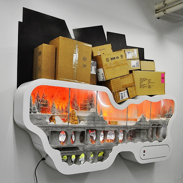 """""""Who's Woods?"""" 2011  foam, formica, plywood, electronics"""