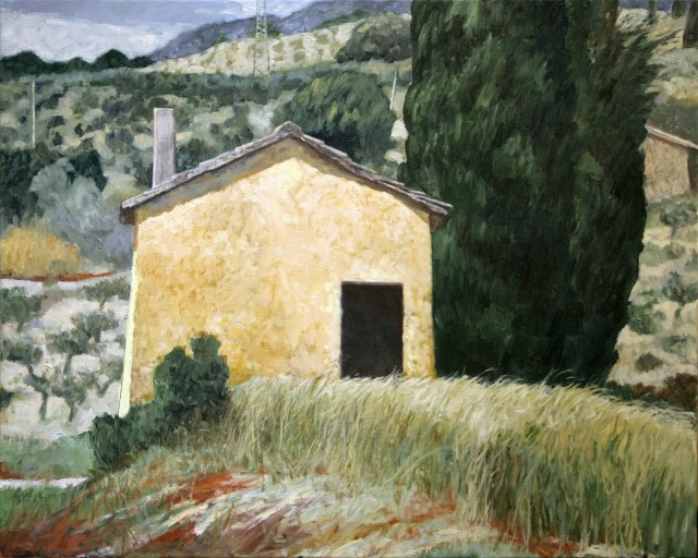 """Yellow Shack--Montefalco""  2007  24x30 oil on canvas"