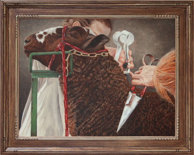 """Before the Shearers"" 2005  24x32 oil on canvas"