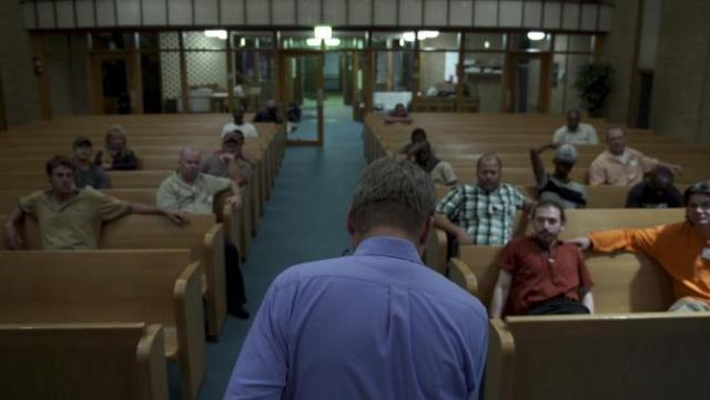 "Handout photo of Reinke is shown in this film production still addressing oil-patch workers from his church pulpit in Drafthouse Films' ""The Overnighters"" in Williston"