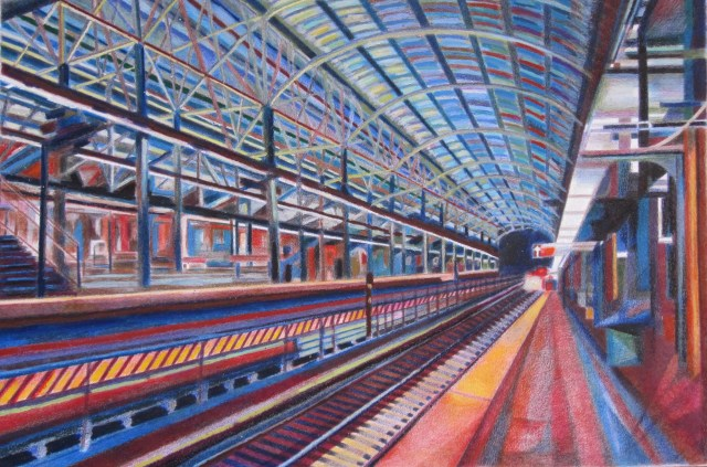 A Brooklyn Subway, 2014 Oil pastel, colored pencil, wax
