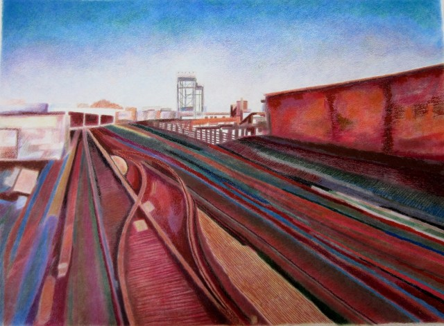The 1 Train To Riverdale, 2011 Oil pastel, colored pencil, wax