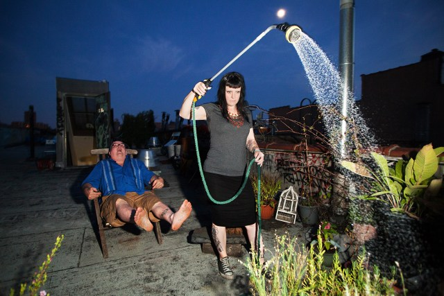 John & Vera tending to their rooftop garden, 2014 From <i>No Knocking or Banging, Go Away!</i> – A Portrait of C-Squat, 2007-2014