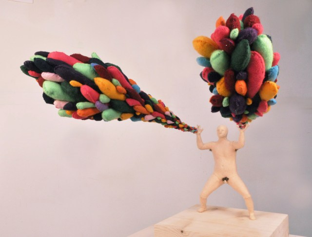 "Magic Powers, 2011, felt, metal, clay. Human: 9 x 3 x 2"" Pods: 25 x 6"". Courtesy of Gallery Diet, Miami, Florida."