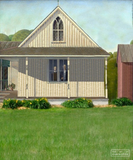 american gothic, grant wood, famous paintings, world famous artists, the art of quarantine
