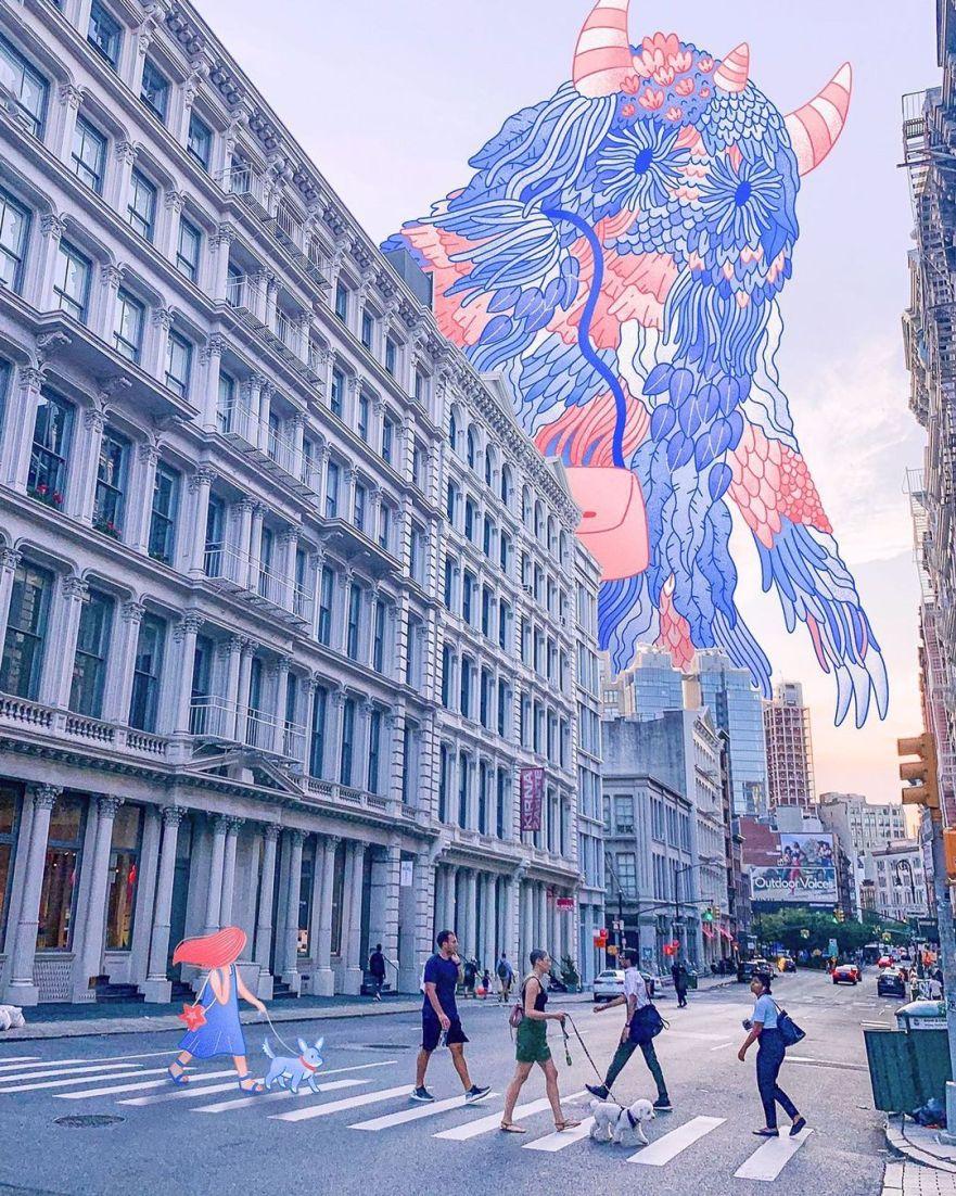 new york murals, new york skyline, new york city skyline, nyc skyline, new york artist, american artist, photo manipulation, new york photography, curators of quirk, art curators, lauren lee
