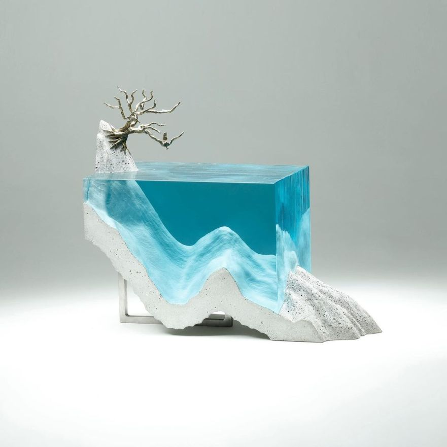 ben young, concrete and glass coffee table, concrete coffee table, designer coffee table, ocean coffee table, art curator, curators of quirk