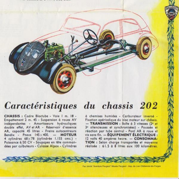 Peugeot 202 1939 Brochure Specifications