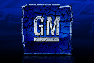GM logo crumbling