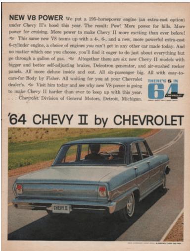 Chevy II V8 ad 1964