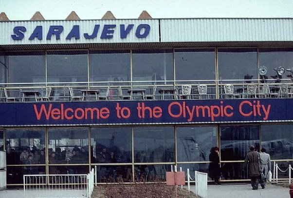 Welcome Sign on Airport Building
