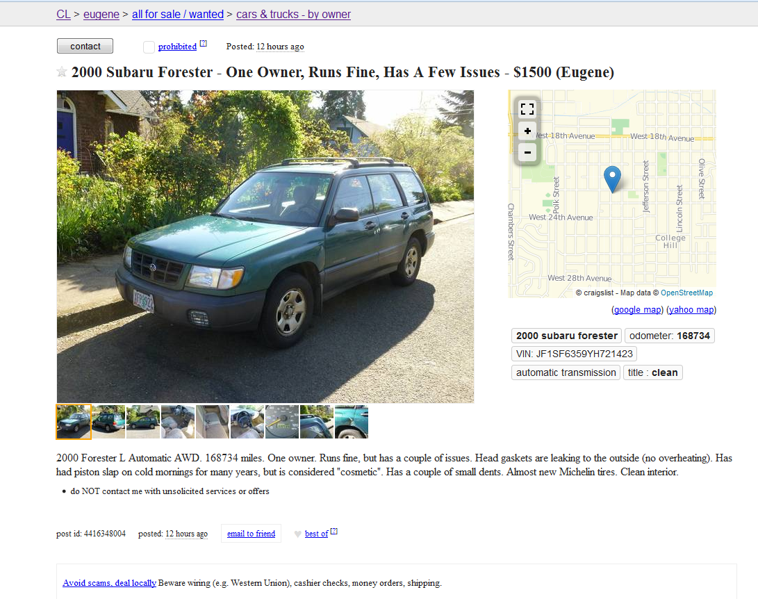 Adios Forester: A Quick and Comical Sale And The Final Tally