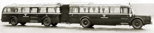 Articulated bus 1938 MAN gaubschat-omnibuszug-mit-drp-faltenbalgverbindung-der-deutschen-reichspost-noch-mit-hakenkreuz